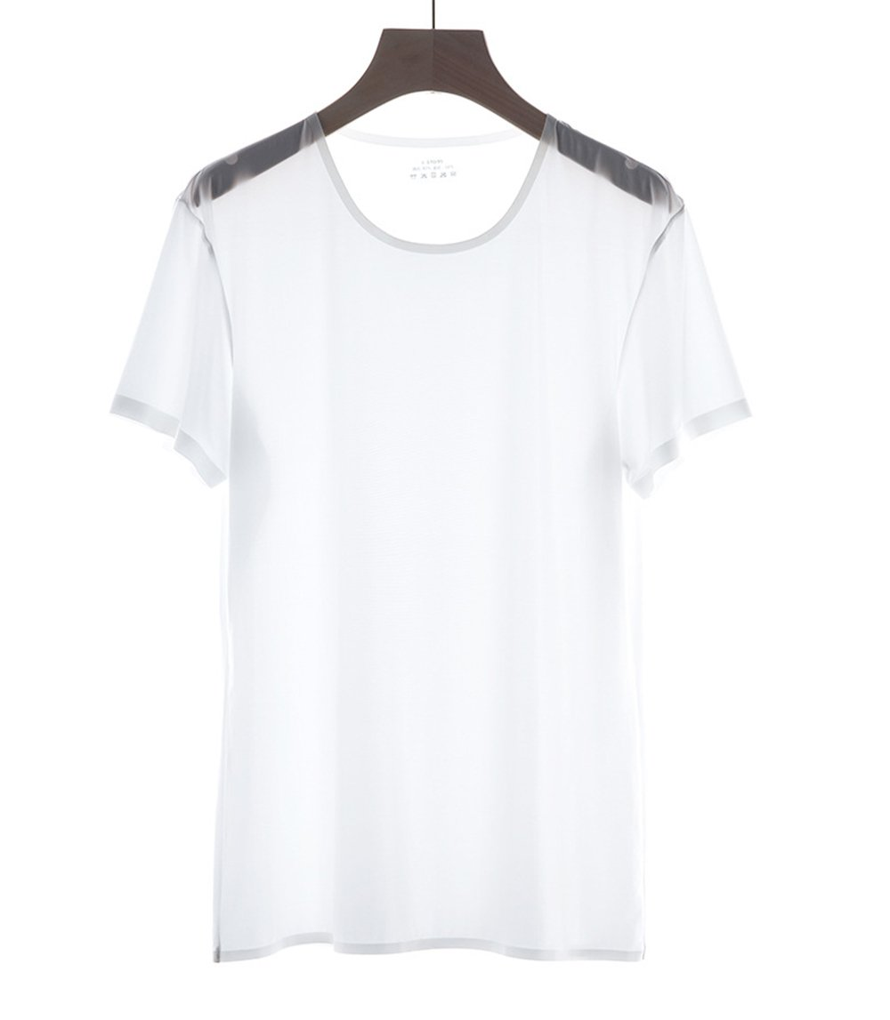 High-end Mens Short Sleeve Seamless Shirt Ice Silk Soild Tops Tee L-XXL (White, XXL)