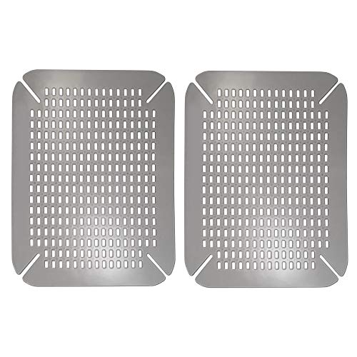 (mDesign Adjustable Kitchen Sink Dish Drying Mat/Grid - Plastic Sink Protector - Cushions Sinks, Stemware, Wine Glasses, Mugs, Bowls, Dishes - Quick Draining, Contours to Sink - 2 Pack - Graphite Gray)