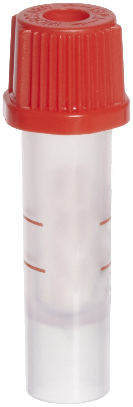 BD 365963 Plastic Capillary Blood Collection Microtainer Tube with Red Microgard Closure, 250-500 microliter Capacity, 8mm ID (Case of 200)
