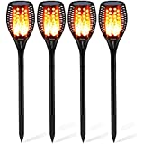 Solar Light Outdoor, Woenergy Waterproof Flames Torches Lights Garden Landscape Decoration Lighting Dusk to Dawn Auto On/Off Security Lawn Light For Pathway Patio Deck Yard Driveway 4 Pack