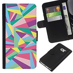 BearCase / Cuero de la tarjeta la carpeta del tirón Smartphone Slots Protección Holder /// Samsung Galaxy S6 EDGE /// Líneas Líneas abstractas Oro