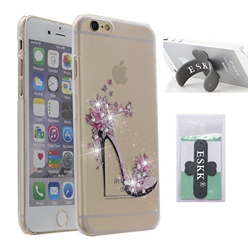 Metallic Slider Case - iPhone 6 Case, iPhone 6S Case, ESKK® Ultra Thin Transparent Crystal Diamond Rhinestone Soft Rubber Snap On Shell Back Skin Cover for Apple iPhone 6 / 6S (4.7) (High-heeled Shoes)