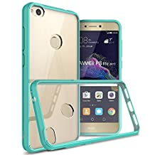 Huawei P8 Lite Case (2017 Version), CoverON® [ClearGuard Series] Hard Clear Back Cover with Flexible TPU Bumpers Slim Fit Phone Cover Case for Huawei P8 Lite (2017 Version) - Teal / Clear