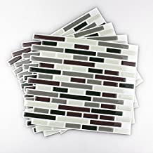 Fancy-fix Vinyl Self Adhesive Kitchen Wall Backsplash Tile-pack of 4 Sheets