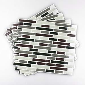 Fancy-fix Vinyl Peel and Stick Wall Tile for Decorative Kitchen/ Bathroom Backsplash Tiles-pack of 4 Sheets