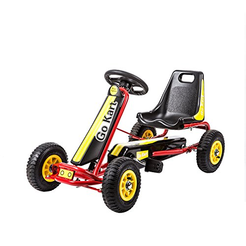 Kinbor Racing Pedal Go Kart, Kids 4 Wheels Riding Car Crazy Cart with Adjustable Seat