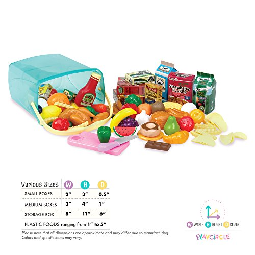 Play Circle by Battat – Pantry in a Bucket – Pretend Play Food Set and Storage Container with Lid – Realistic & Durable…