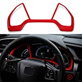 Thenice for 10th Gen Civic Dash Board Instrument Panel Dial Dashboard Trim Cover Frame ABS Decal Interior Moulding Accessories for Honda Civic 2020 2019 2018 2017 2016 -Red