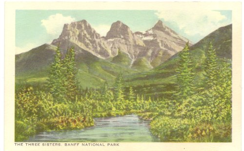 1940s-vintage-canadian-pacific-railway-postcard-the-three-sisters-banff-national-park-alberta-canada