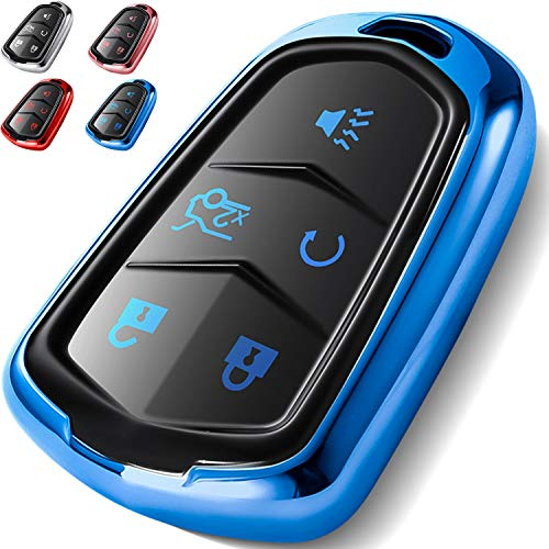 COMPONALL Key Fob Cover for Cadillac, Key Fob Case for 2015-2019 Cadillac Escalade CTS SRX XT5 ATS STS CT6 5-Buttons Premium Soft TPU 360 Degree Full Protection Blue