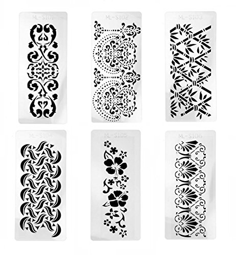 Hyamass 6pcs Rectangle Shape Flower Stencils Hollow Out Painting Stencils Drawing Templates