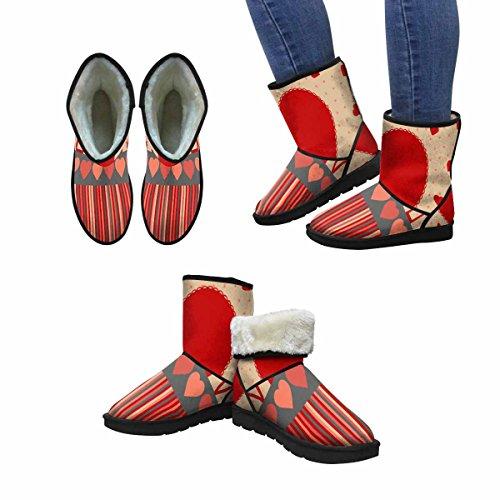 InterestPrint Womens Snow Boots Design Art Print Deco For Valentines Day Unique Designed Comfort Winter Boots Multi 1 xtste