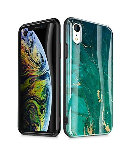 GVIEWIN Nature Series iPhone XR Case, [Upgraded Protection] Emerald Marble Pattern Design with Shockproof Slim Fit TPU Bumper, Green/Gold