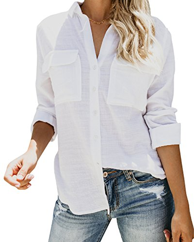 Niitawm Womens V Neck Blouse Shirts Roll-up Sleeve Button Down Pockets Shirts Tops (M,White)