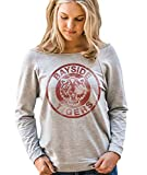 Superluxe Clothing Womens Vintage 80s / 90s Style Bayside Tigers TV Kelly Kapowski Raw Edge Off The Shoulder Top, Large, Heather Grey