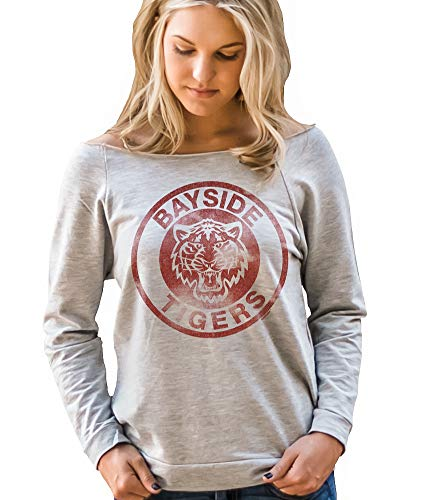 Superluxe Clothing Bayside Tigers Womens Vintage 80s / 90s Style TV Kelly Kapowski Raw Edge Off The Shoulder Top, Heather Grey, Medium