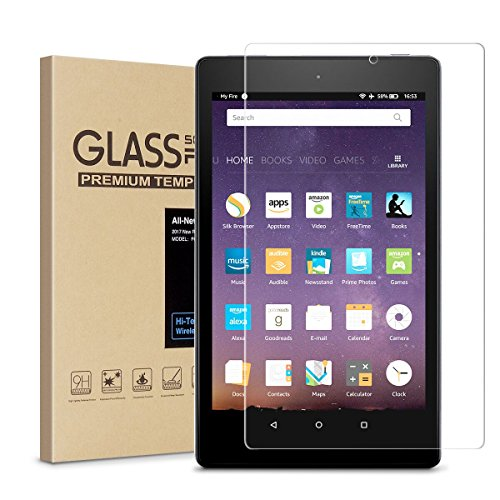 Fire HD 8 Screen Protector,Tempered Glass Screen Protector for All New Fire HD 8/kids edition Tablet (2017 Release) by EasyWorld