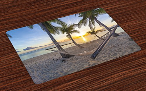 (Ambesonne Tropical Place Mats Set of 4, Paradise Beach with Hammock and Coconut Palm Trees Horizon Coast Vacation Scenery, Washable Fabric Placemats for Dining Room Kitchen Table Decor, Multicolor )