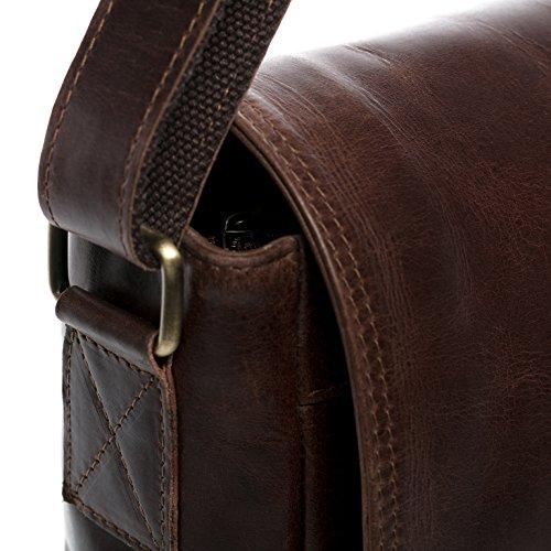 VAIN® Bolso portátil piel nbsp;claro marrón amp; Maletín Castaño Bolso cuero ETON mensajero SID REOwp5q5