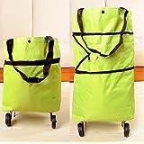 WWJ Supermarket portable shopping cart lever/lever/folding shopping trolley/tug/portable storage bag , green