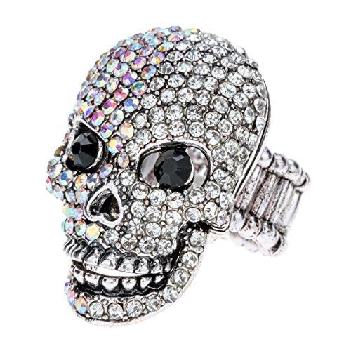 Szxc Jewelry Women's Crystal Skull Stretch Rings Biker (Skull Adjustable Ring)