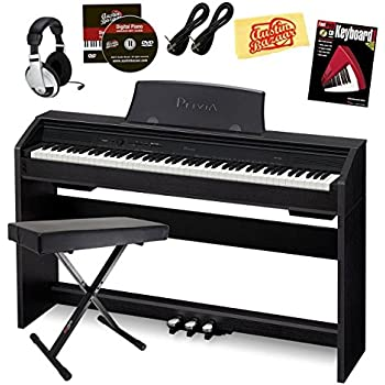 Casio Privia PX-760 Digital Piano - Black Bundle with Adjustable Bench, Headphones, Instrument Cables, Instructional Book, Austin Bazaar Instructional DVD, and Polishing Cloth