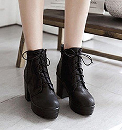 Aisun Kvinna Vintage Rund Tå Tjock Sula Snörning Plattform Boots High Staplade Häl Tossor Svart
