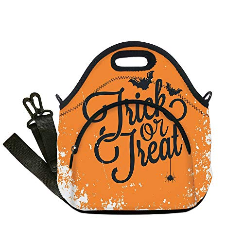 Insulated Lunch Bag,Neoprene Lunch Tote Bags,Vintage Halloween,Trick or Treat Halloween Theme Celebration Image Bats Tainted Backdrop Decorative,Orange Black,for Adults and children