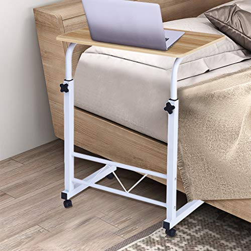 (Allywit Folding Computer Desk 60cm40cm Computer Desk Cart, Height-Adjustable from 65 cm to 97 cm, Rotated 180 Degrees Bedside Side Coffee Laptop Tablet Writing Desk Mobile Table (Yellow))