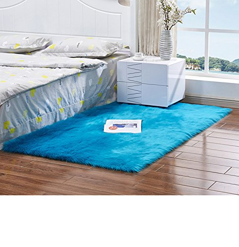 CHITONE Faux Fur Sheepskin Area Rug, Baby Bedroom Rugs Fluffy Rug Home Decorative Shaggy Rectangle Carpet, 4×6 Feet, White with Grey Top