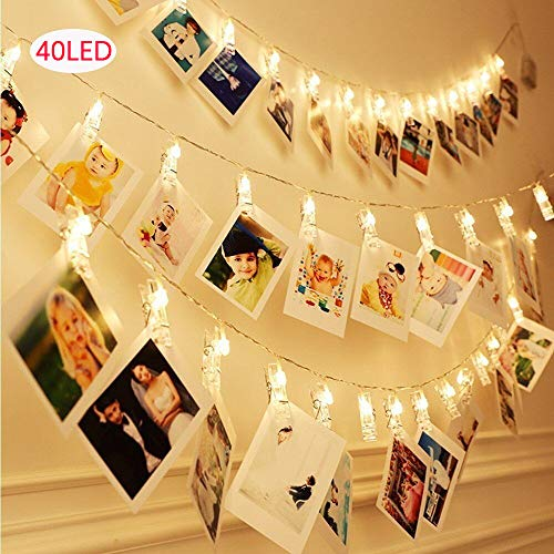 Pomisty Photo Clips String Lights,20FT 40 LED Indoor/Outdoor Decorate,Perfect for Christmas Bedroom Wedding Halloween-Warm -