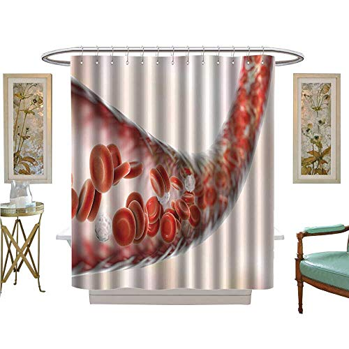 luvoluxhome Shower Curtains Digital Printing Blood Vessel with Flow Blood Cells d Bathroom Set with Hooks W54 x L78