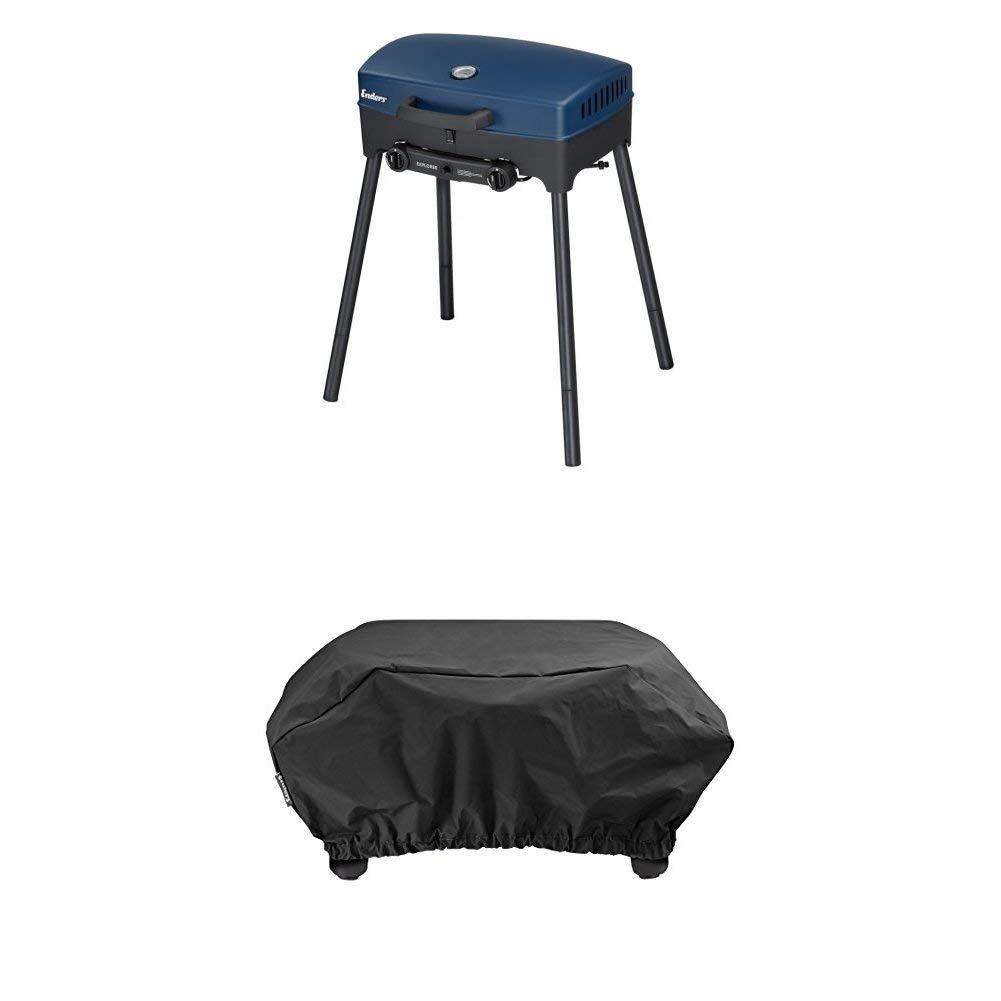 Enders BBQ Camping-Gasgrill EXPLORER, 2090, Funktionen Grillen, Kochen und Backen, 2 Gas Edelstahl-Brenner, kleiner Grill für Balkon, Picknick, Camping