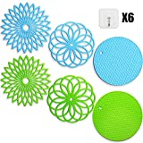 Tailiand Silicone Trivet Mat, Multi-Use Silicone Pot Holders, Non Slip Pad Potholders, Heat Resistant Flexible Hot Pads Jar Opener Coasters with Hooks for Kitchen (6 Pack)