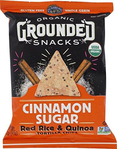 (Lundberg Family Farms Organic Grounded Snacks, Cinnamon Sugar Red Rice & Quinoa Tortilla Chips, 24)
