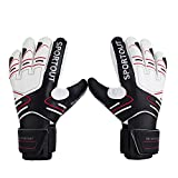 Sportout Youth Adult Goalie Goalkeeper Gloves,Strong Grip for The Toughest Saves, With Finger Spines to Give Splendid Protection to Prevent Injuries (7, Black)
