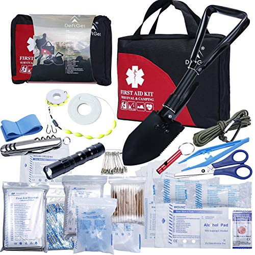 First Aid Kit Refill for Car Home Camping Travel Office Sports Gardening Mud & Snow - Military Folding Shovel Survival Multitool Tools Box - 25 Items