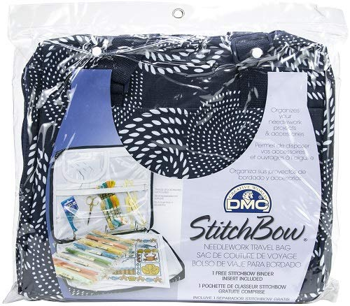 DMC U1635 Stitchbow Floral Needlework Travel Bag, Dark Blue