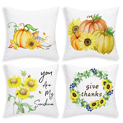 BLEUM CADE Set of 4 Fall Pillow Covers Autumn PumpkinThrow Pillow Case Sunflower Cushion Cover for Autumn Halloween Thanksgiving Day (Yellow, 18 X 18 Inch)]()