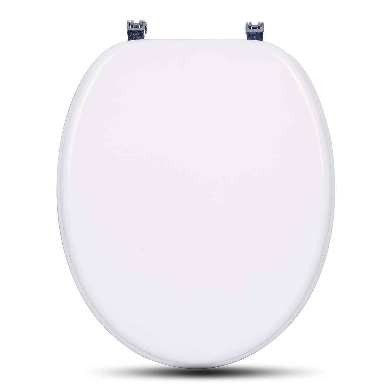 eSituro STS0200 Abattant WC Fonction softclose Si/ège de Toilette Couvercle de WC en MDF Charni/ères en Zinc chrom/é