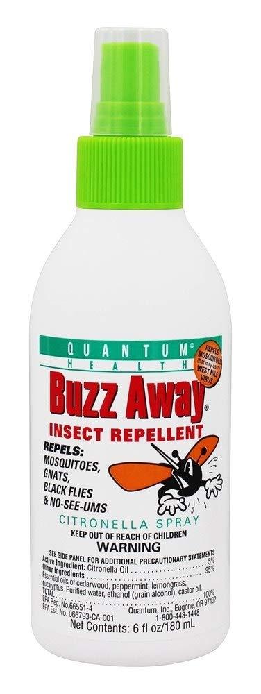 Quantum Buzz Away - Natural DEET-free Insect Repellent, Citronella Essential Oil Bug Spray, Original Formula - Small Children and Up, Travel Friendly - 6 Fl Oz