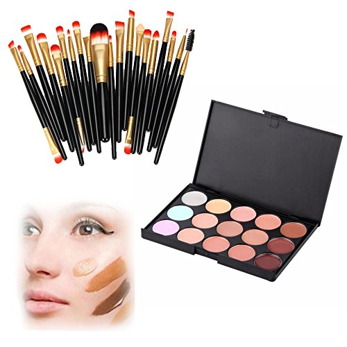 Aimik 15 Colors Professional Concealers Makeup Cream Contour Palette with 20 Makeup Brush set