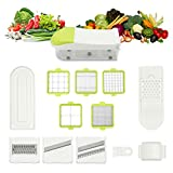 [Updated Version] TAPCET 16 in 1 Stainless Steel Mandoline Slicer For Fruit Vegetable Cheese ,8 Interchangeable Blades + Food Storage Container and Lid +Top off the Cutter + Blade Storage Box Ect