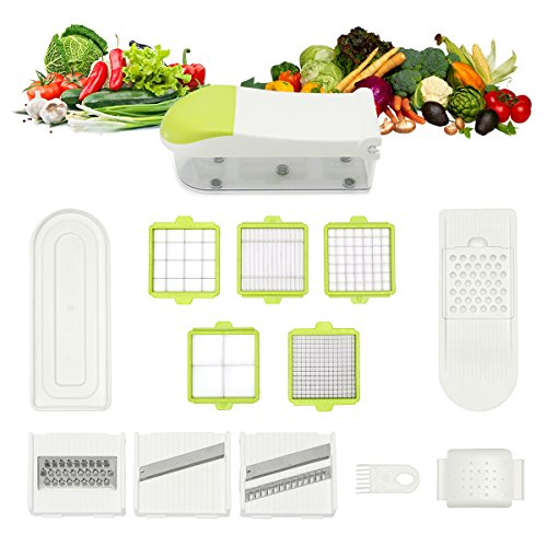 [Updated Version] TAPCET Stainless Steel Mandoline Slicer For Fruit Vegetable Cheese ,8 Interchangeable Blades + Food Storage Container and Lid +Top off the Cutter + Blade Storage Box Ect - Mandoline Slicers
