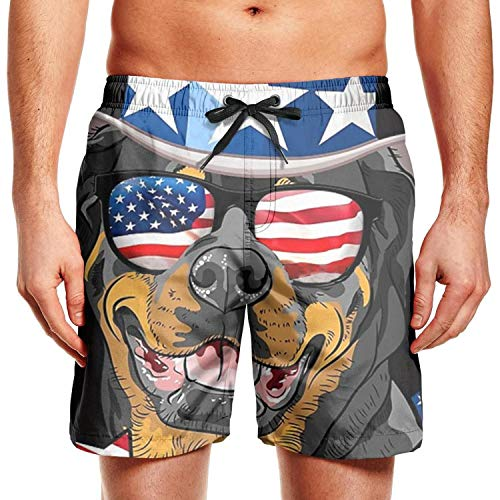 (Quick-Dry Men's Beach Shorts Rottweiler American Flag Hat Glasses Swim Trunks with Adjustable Drawstring)