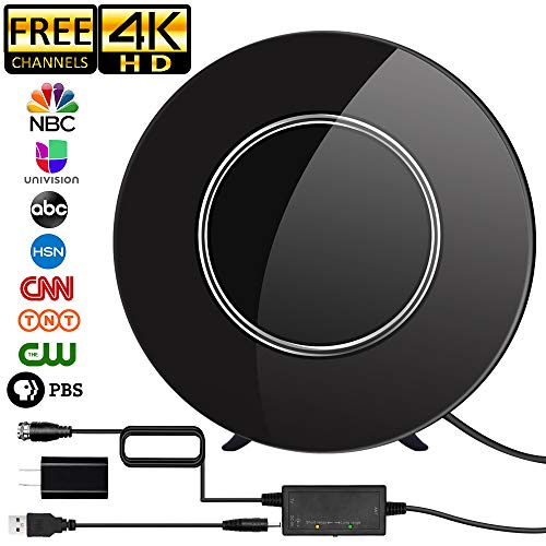 [2019 Newest] TV Antenna,Indoor Digital HDTV Antenna Amplified 150Miles Range Support 4K 1080P VHF UHF & Older TV's Digital Antenna with 17ft Coax Cable/USB Power Adapter (Black)