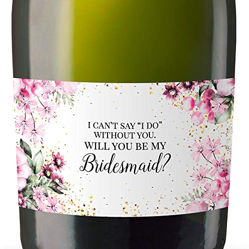 Will You Be My Bridesmaid/Matron of Honor/Maid of Honor Stickers, Mini Champagne Bottle Label Stickers