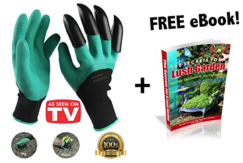 Garden Genie Gloves With Right Hand Claws That Make It Quick & Easy To Plant Nursery Plants with Effortless Digging and are Safe for Rose Pruning Exclusive eBook! As Seen On TV!