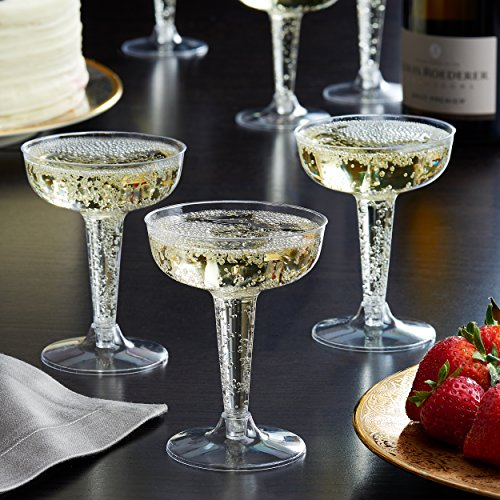 Toasted Drinkware Premium Hard Plastic Clear Two Piece 4 oz Champagne Glasses, 40 Count -