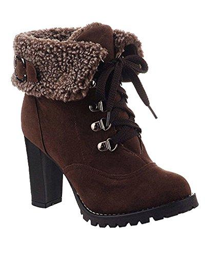 Mujer Martin Minetom Cortas Tacón Boots Calentar Cordones Zapatos De Botines Invierno Marrón Botas Alto axdnPFBx